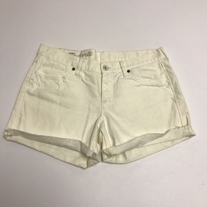 Madewell White Cotton Denim Jean Raw Hem Shorts 29